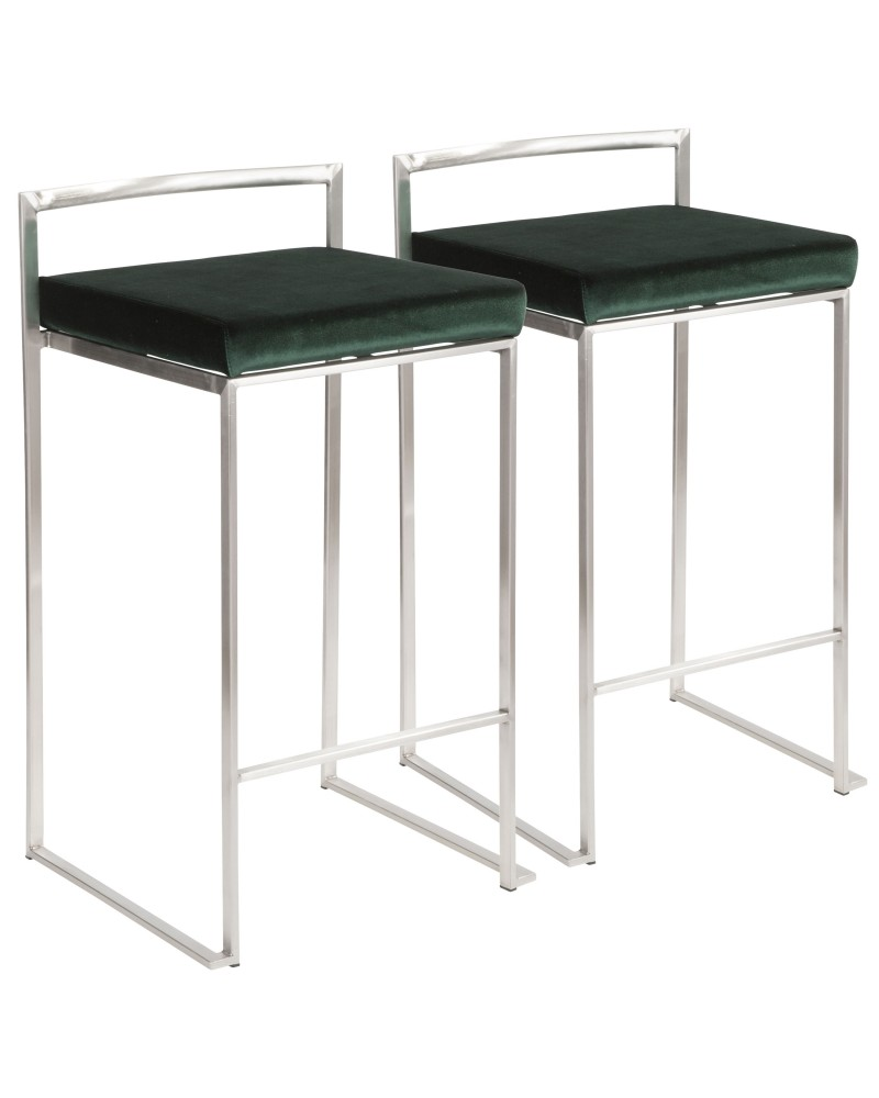 Fuji Contemporary Stackable Counter Stool in Stainless Steel with Green Velvet Cushion - Set of 2
