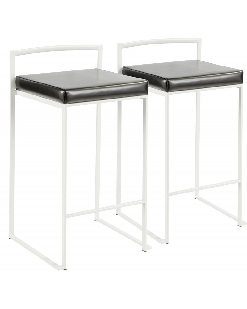 Fuji Contemporary Stackable Counter Stool in White with Black Faux Leather Cushion - Set of 2