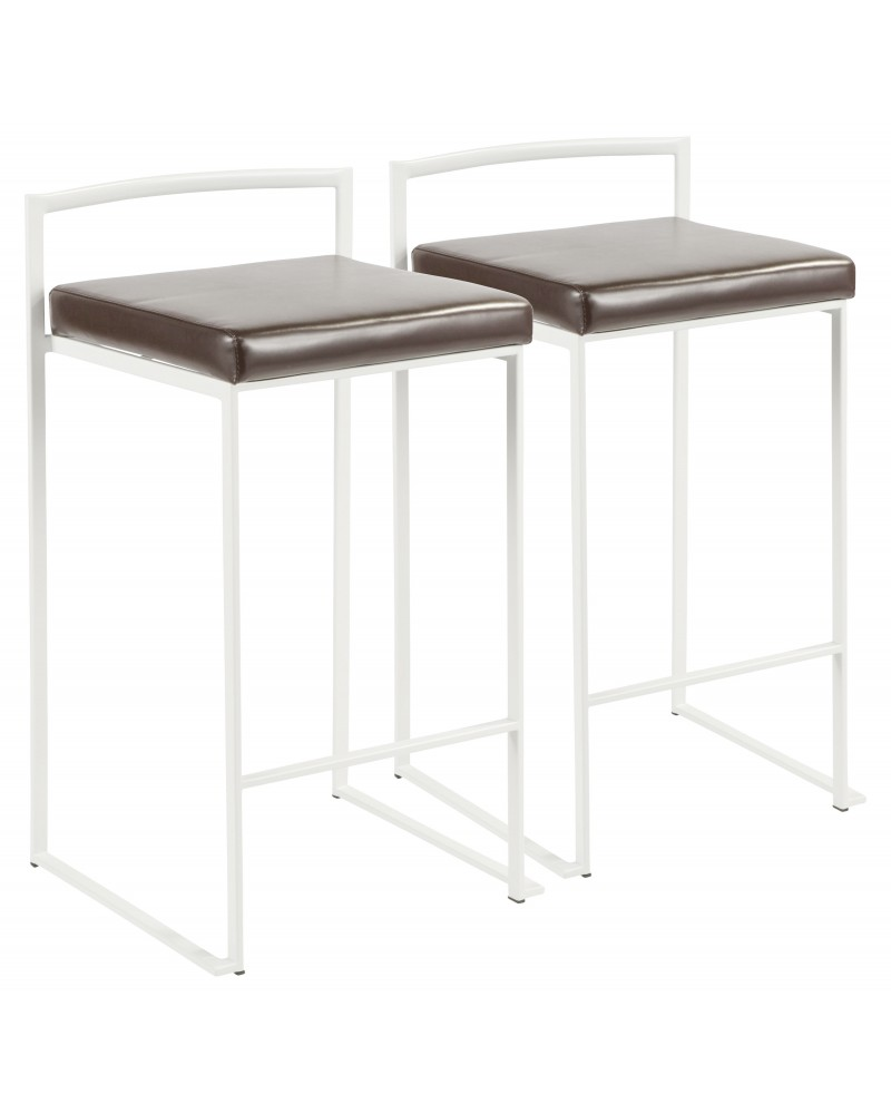 Fuji Contemporary Stackable Counter Stool in White with Brown Faux Leather Cushion - Set of 2