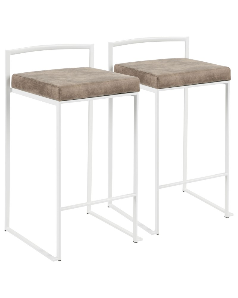 Fuji Contemporary Stackable Counter Stool in White with Brown Cowboy Fabric Cushion - Set of 2