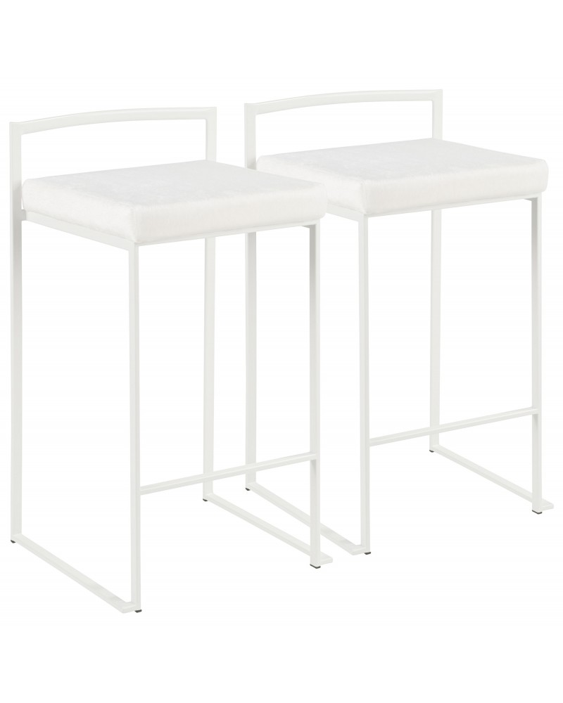 Fuji Contemporary Stackable Counter Stool in White with White Mohair Cushion - Set of 2