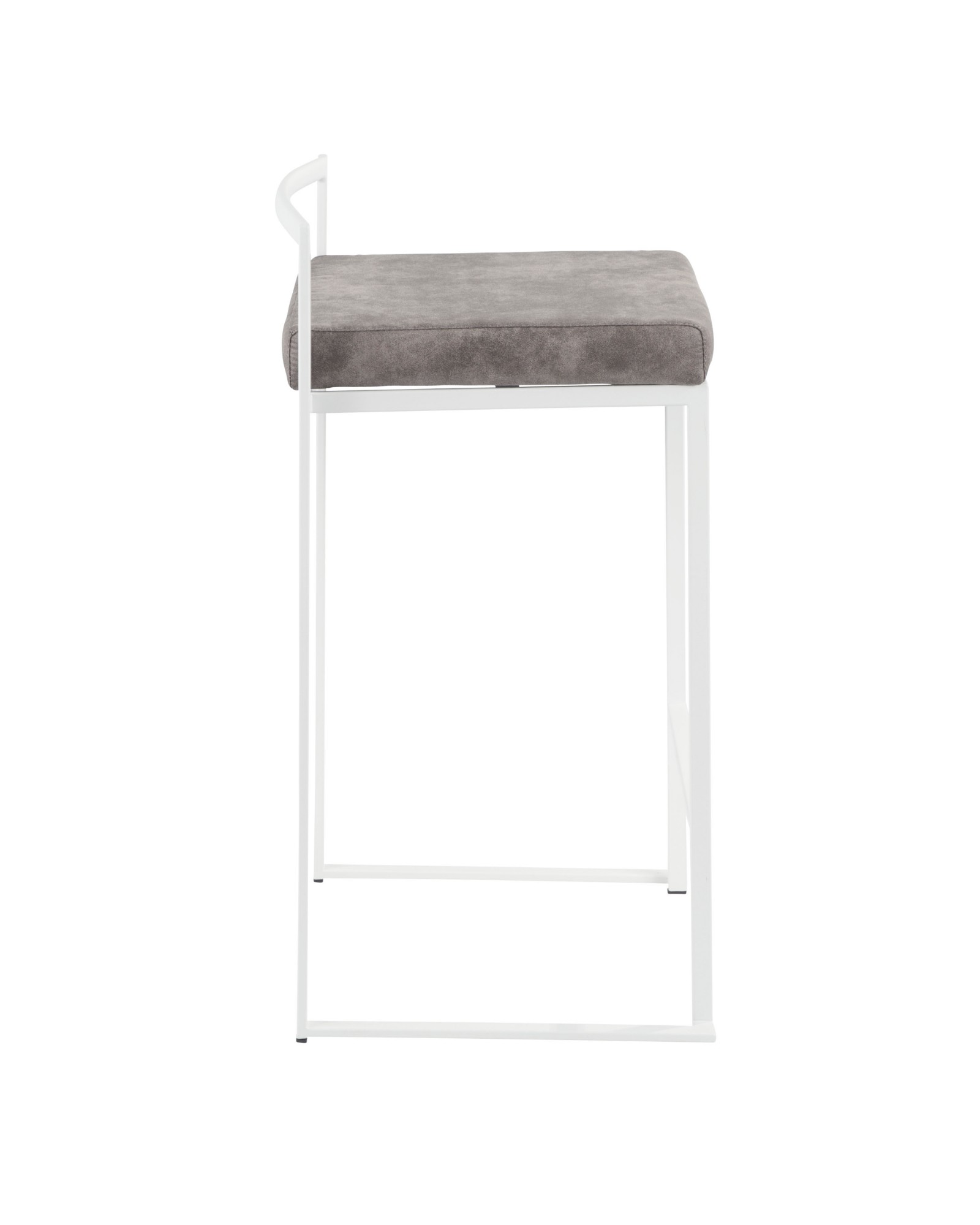 Fuji Contemporary Stackable Counter Stool in White with Stone Cowboy Fabric Cushion - Set of 2