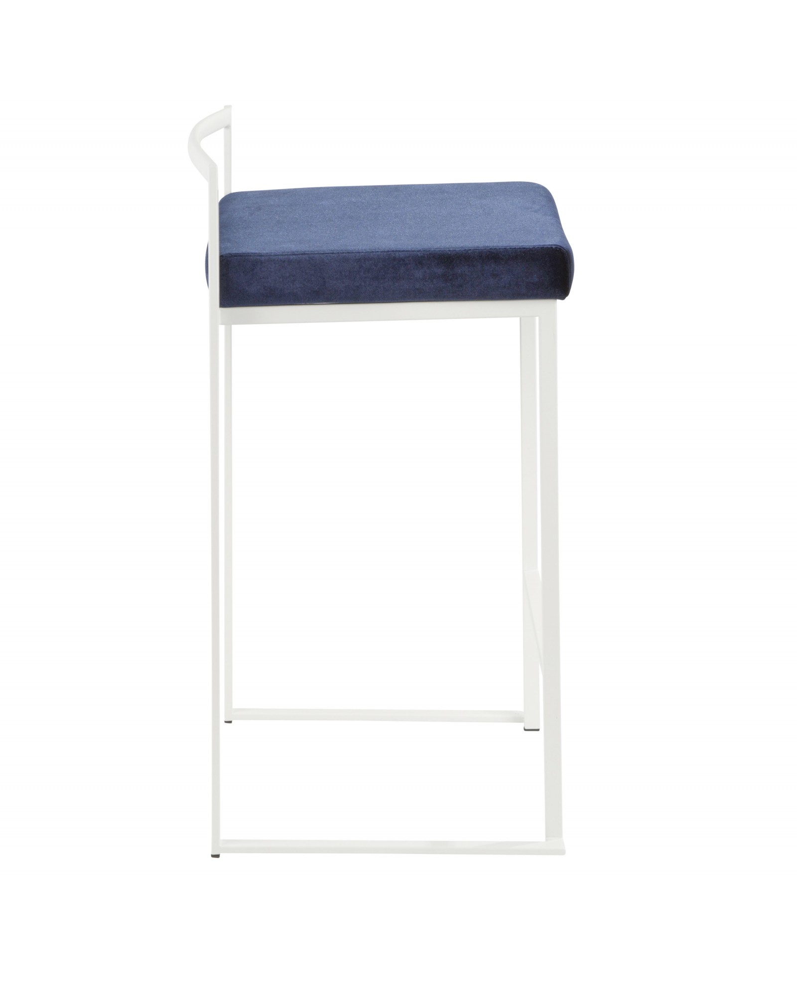 Fuji Contemporary Stackable Counter Stool in White with Blue Velvet Cushion - Set of 2
