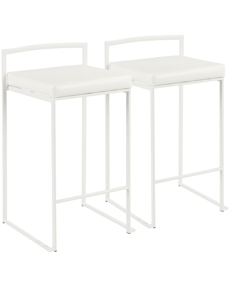 Fuji Contemporary Stackable Counter Stool in White with White Faux Leather Cushion - Set of 2