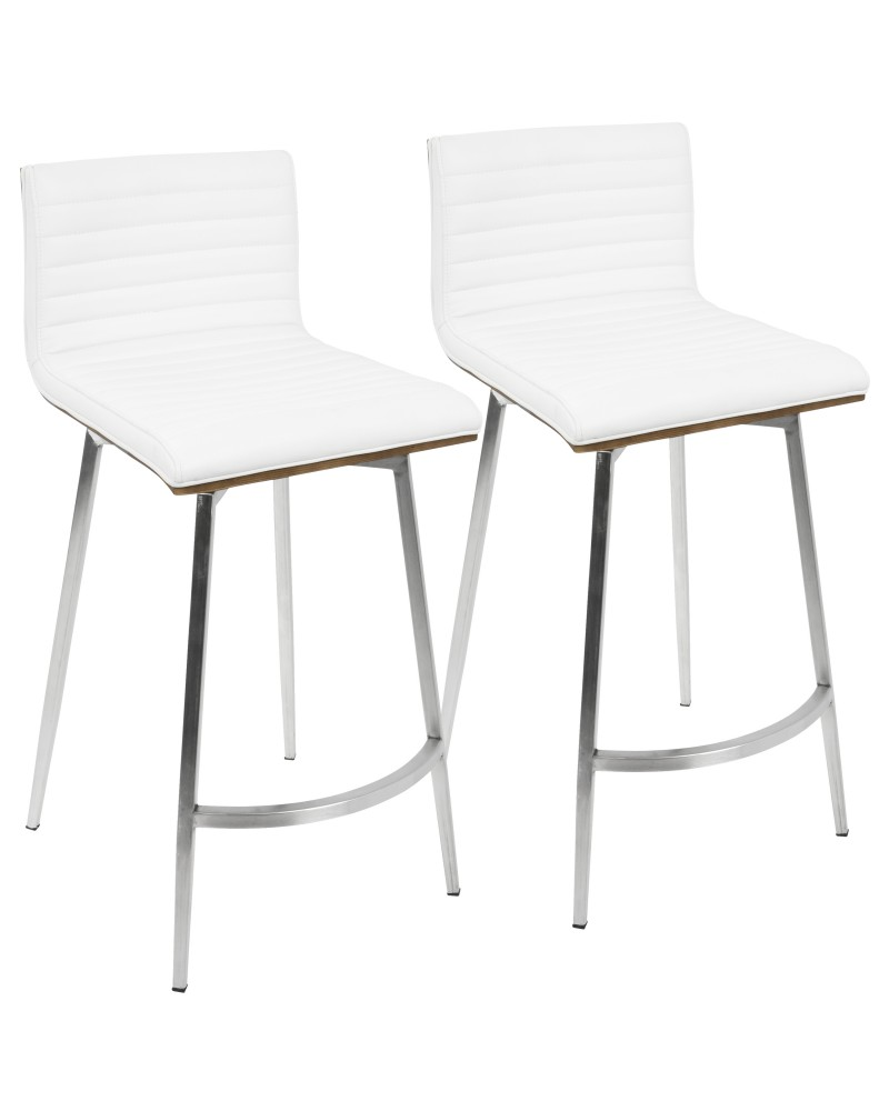 Mason Contemporary Swivel Counter Stool in Stainless Steel, Walnut Wood, and White Faux Leather - Set of 2