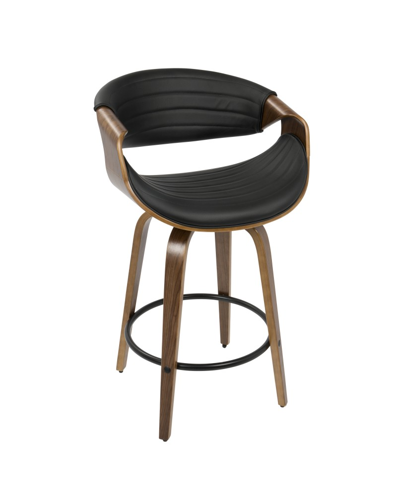 Symphony Mid-Century Modern Counter Stool in Walnut and Black Faux Leather