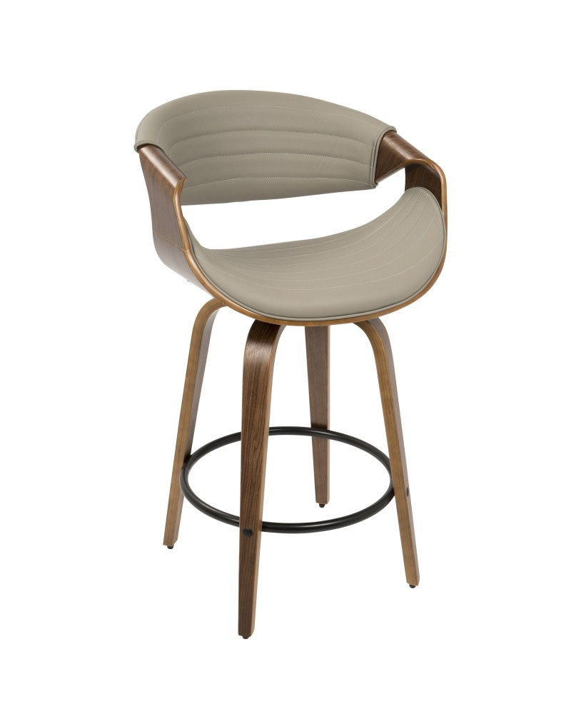 Symphony Mid-Century Modern Counter Stool in Walnut and Grey Faux Leather