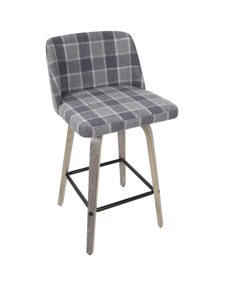 Toriano Mid-Century Modern Counter Stool in Light Grey Wood and Blue Plaid