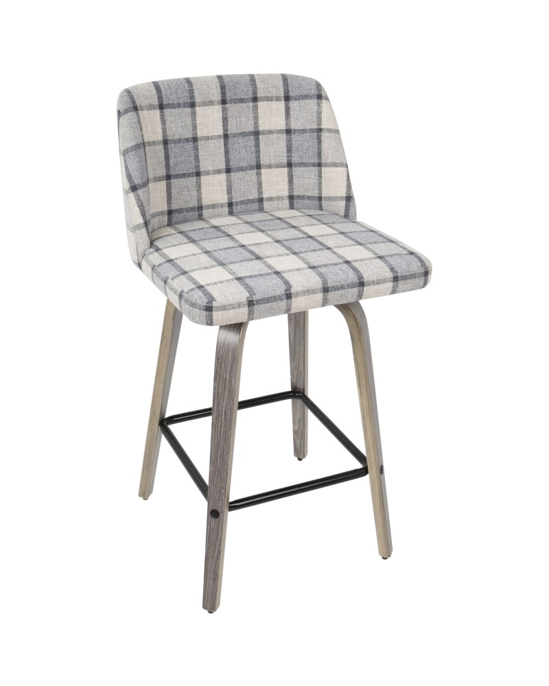 Toriano Mid-Century Modern Counter Stool in Light Grey Wood and Grey Plaid