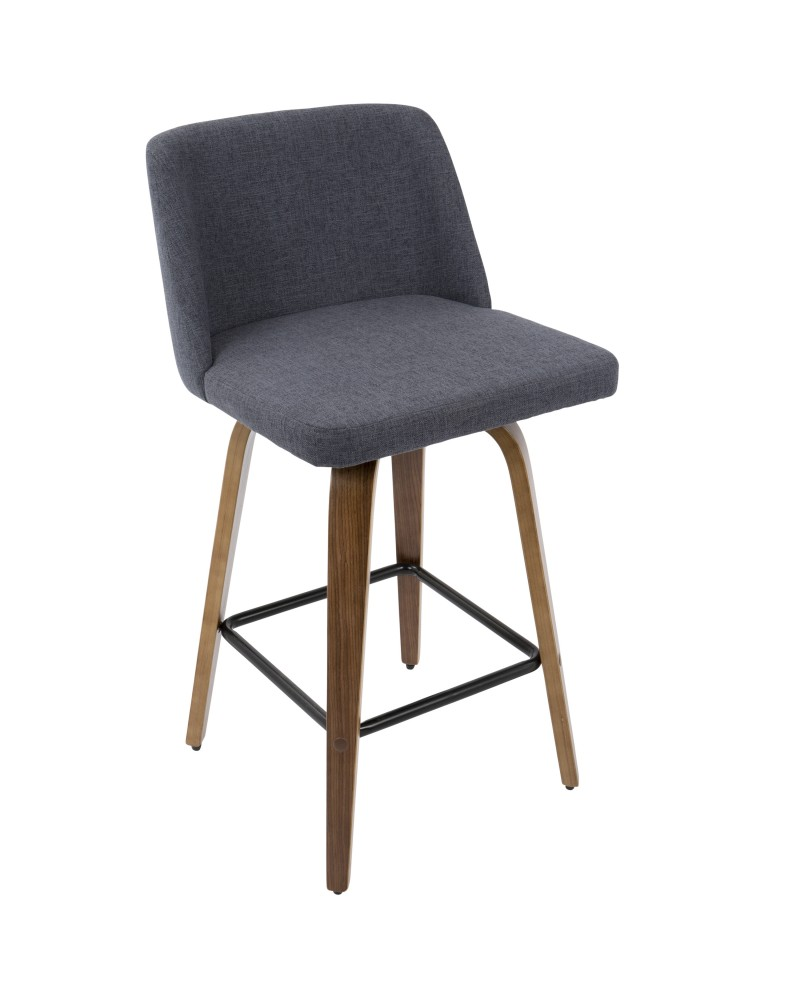 Toriano Mid-Century Modern Counter Stool in Walnut and Blue Fabric