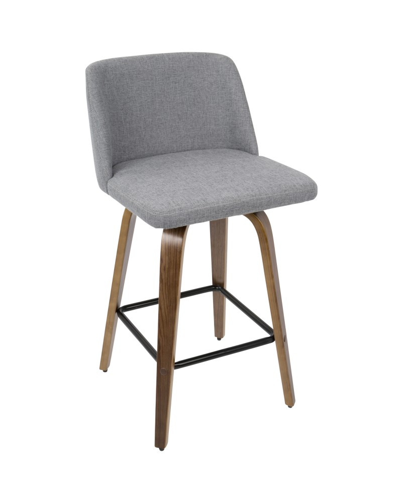 Toriano Mid-Century Modern Counter Stool in Walnut and Grey Fabric