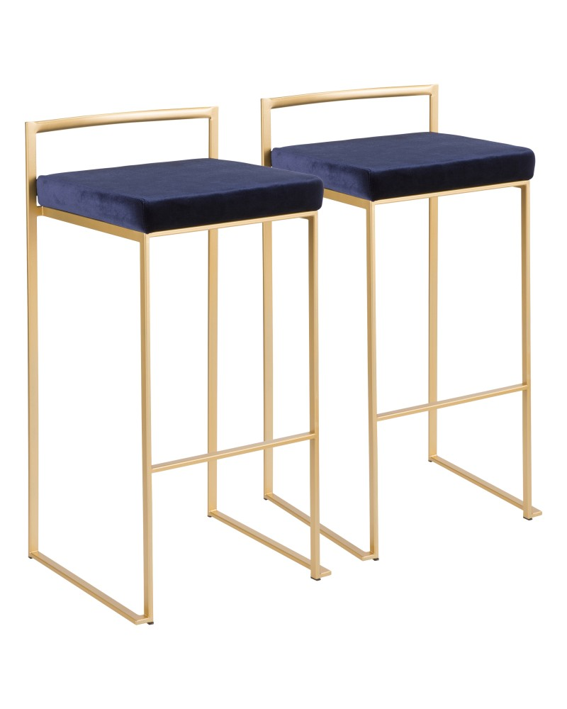 Fuji Contemporary-Glam Stackable Barstool in Gold with Blue Velvet Cushion - Set of 2