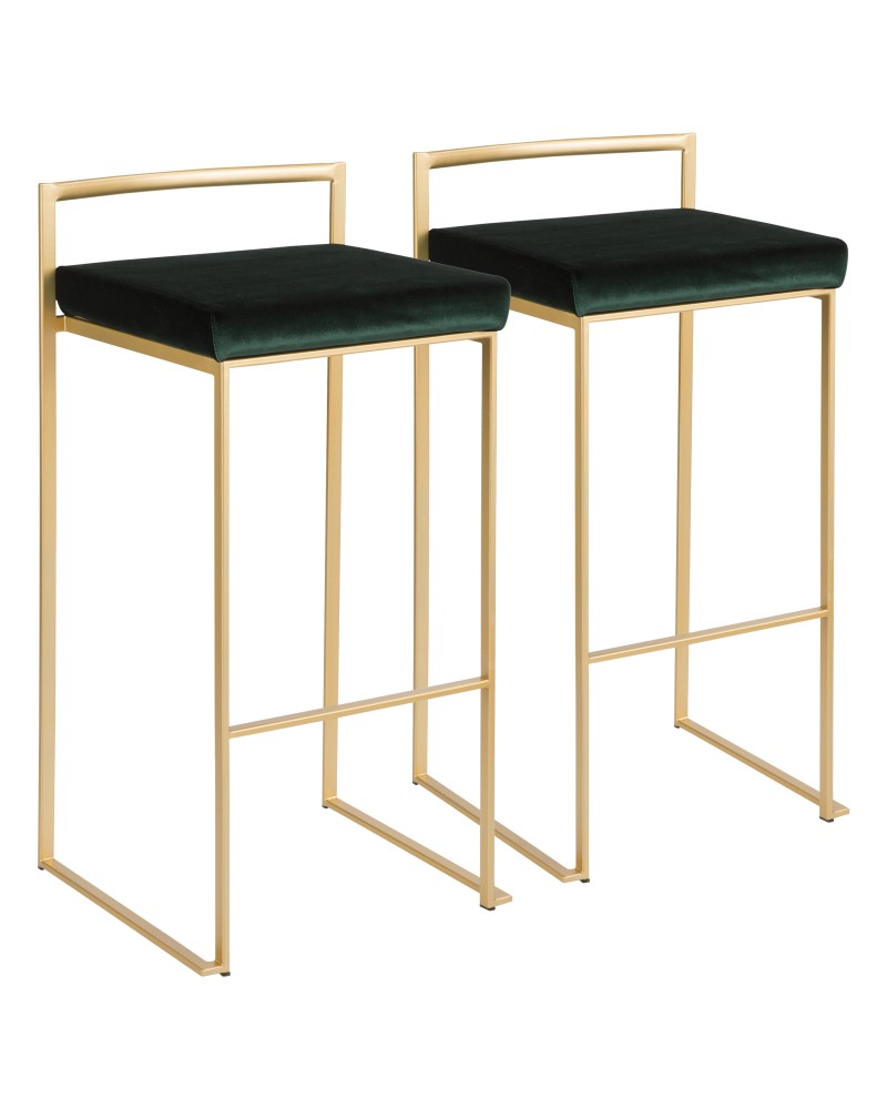 Fuji Contemporary-Glam Stackable Barstool in Gold with Green Velvet Cushion - Set of 2