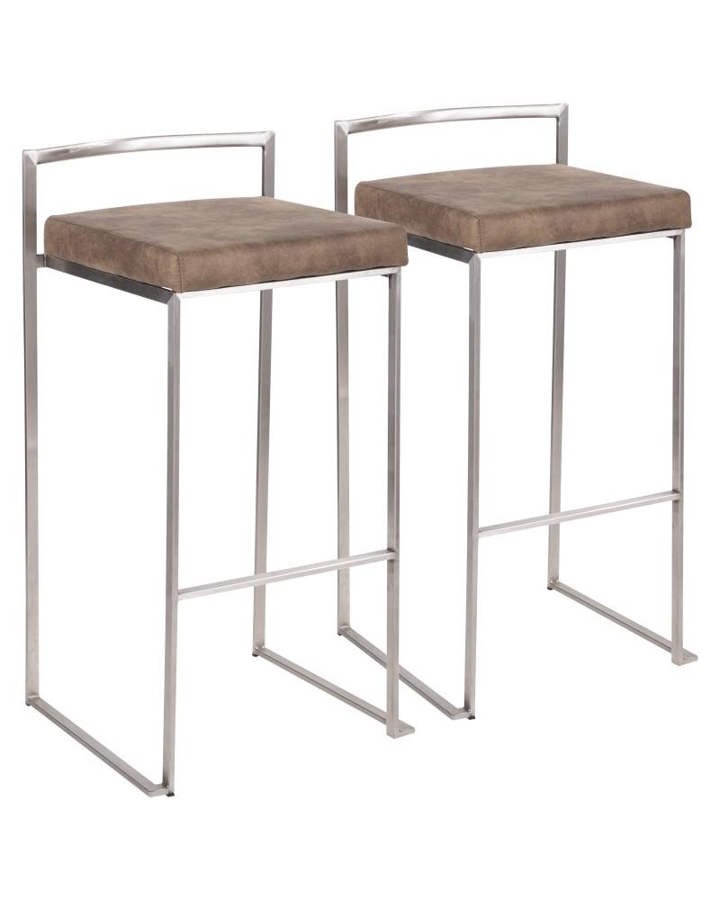 Fuji Contemporary Stackable Barstool in Stainless Steel with Brown Cowboy Fabric Cushion - Set of 2