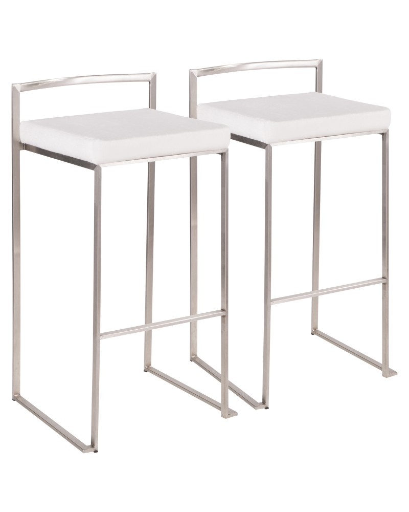Fuji Contemporary Stackable Barstool in Stainless Steel with White Mohair Cushion - Set of 2