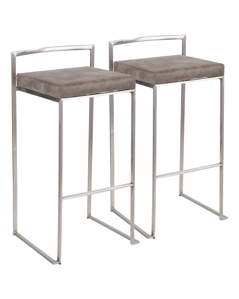 Fuji Contemporary Stackable Barstool in Stainless Steel with Stone Cowboy Fabric Cushion - Set of 2