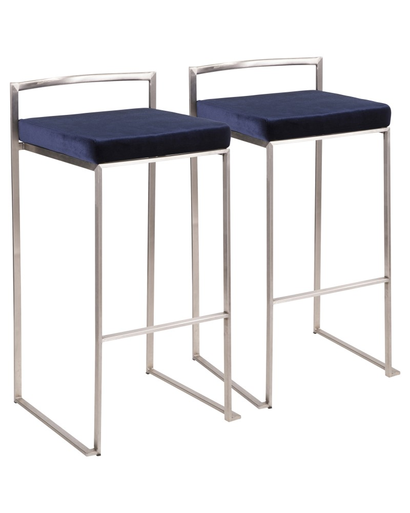 Fuji Contemporary Stackable Barstool in Stainless Steel with Blue Velvet Cushion - Set of 2