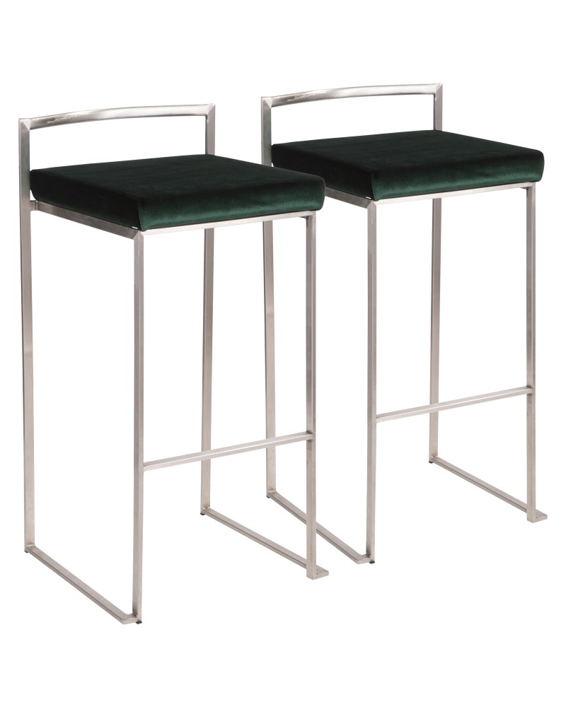 Fuji Contemporary Stackable Barstool in Stainless Steel with Green Velvet Cushion - Set of 2