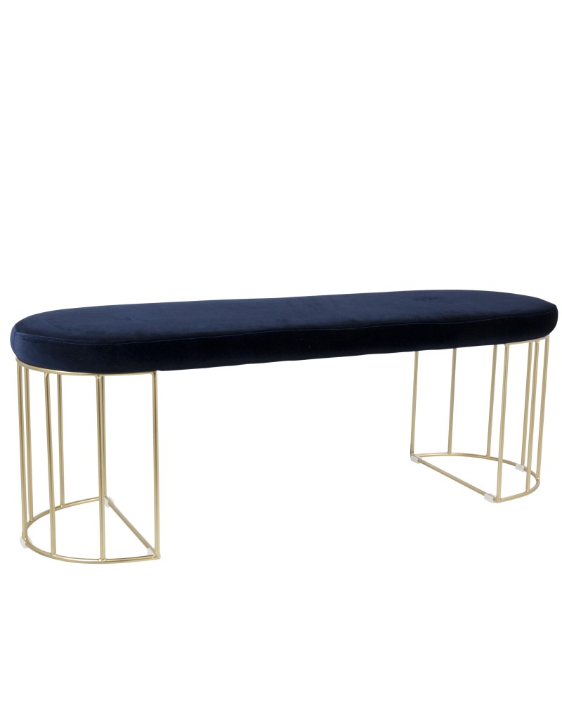 Canary Contemporary-Glam Dining/Entryway Bench in Gold and Blue Velvet