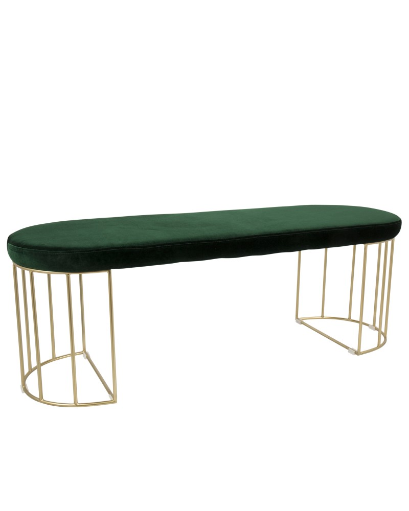 Canary Contemporary-Glam Dining/Entryway Bench in Gold and Green Velvet