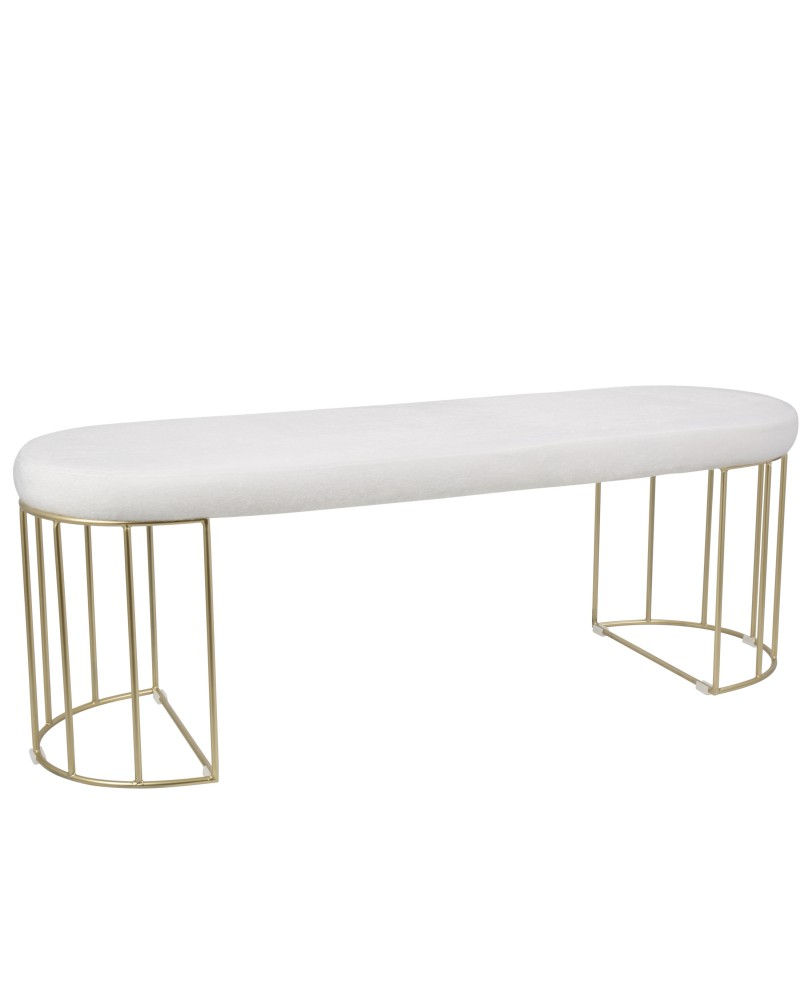 Canary Contemporary-Glam Dining/Entryway Bench in Gold and White Mohair Fabric