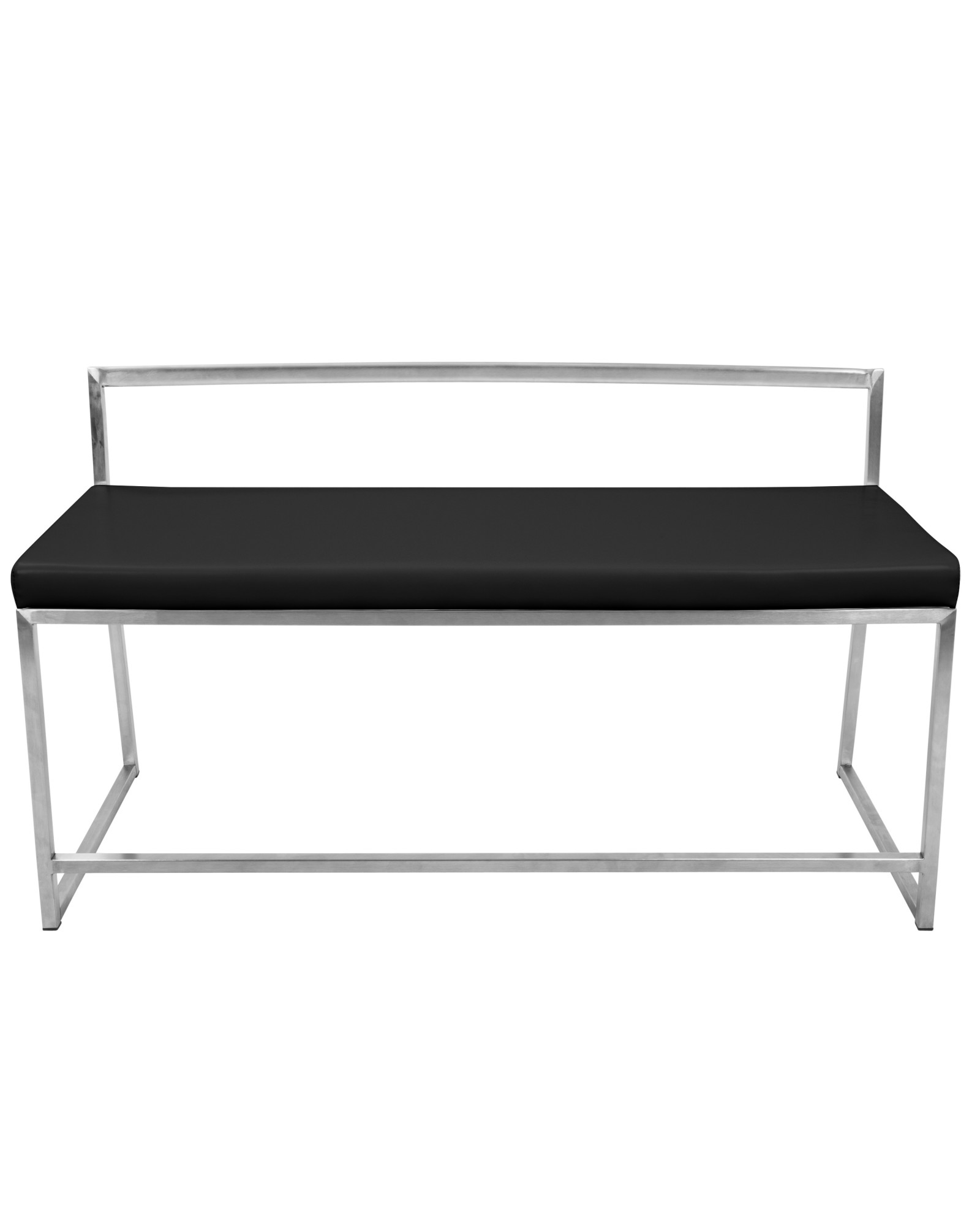 Fuji Contemporary Dining / Entryway Bench in Black Faux Leather