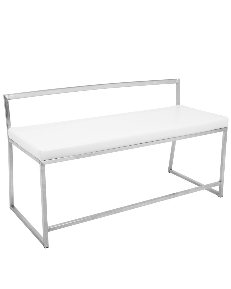 Fuji Contemporary Dining / Entryway Bench in White Faux Leather