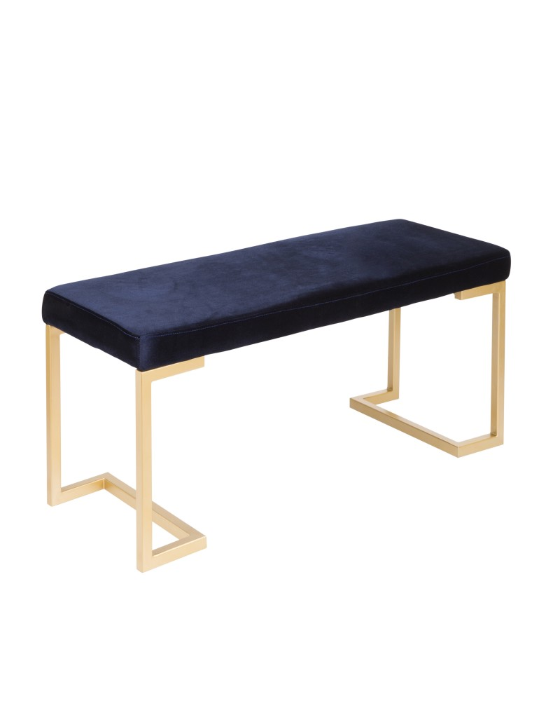 Midas Contemporary-Glam Entryway/Dining Bench in Gold with Blue Velvet Cushion