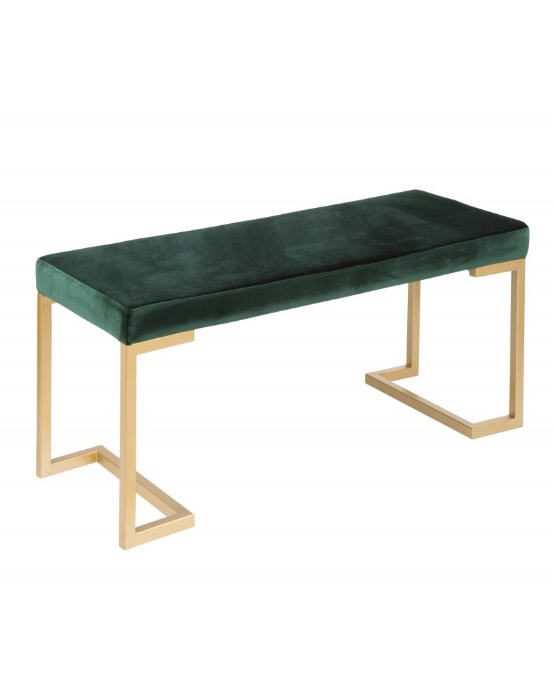 Midas Contemporary-Glam Entryway/Dining Bench in Gold with Green Velvet Cushion