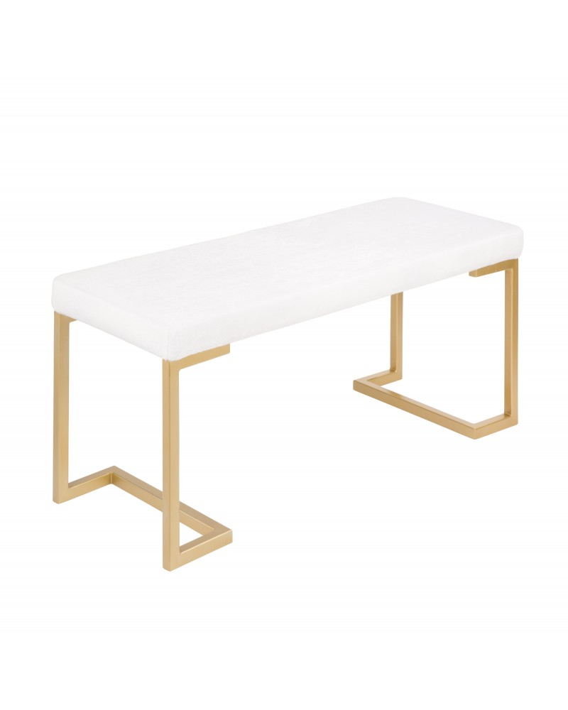 Midas Contemporary-Glam Entryway/Dining Bench in Gold with White Mohair Cushion