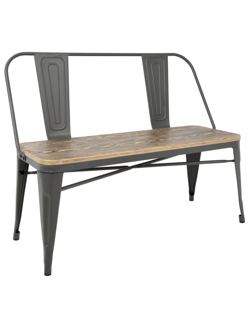 Oregon Industrial-Farmhouse Bench in Grey and Brown