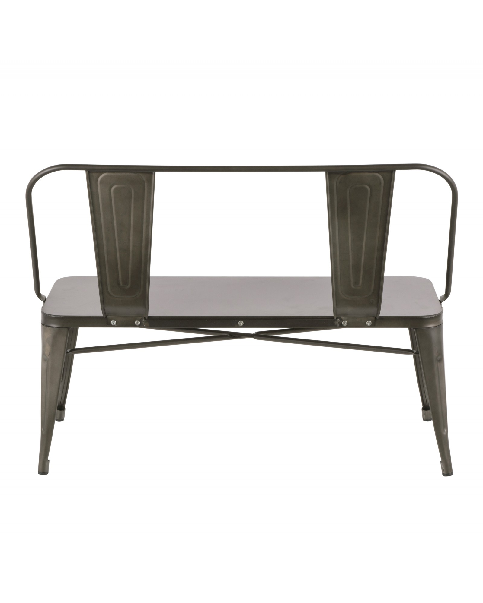 Oregon Industrial Metal Dining/Entryway Bench with Antique Finish