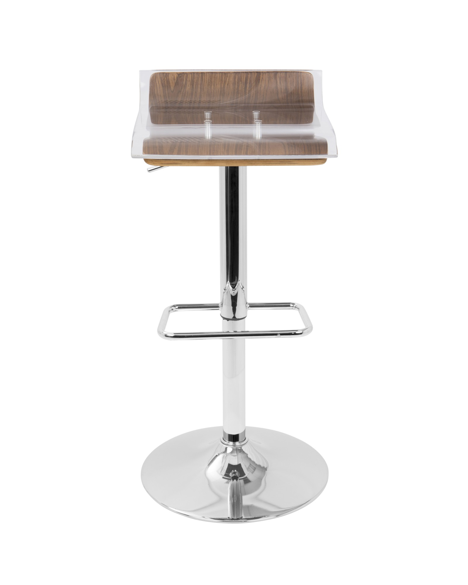 2-Tier Contemporary Barstool with Swivel in Walnut and Clear