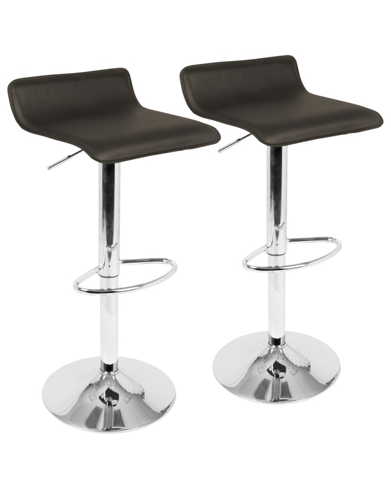 Ale Contemporary Adjustable Barstool in Brown PU Leather - Set of 2