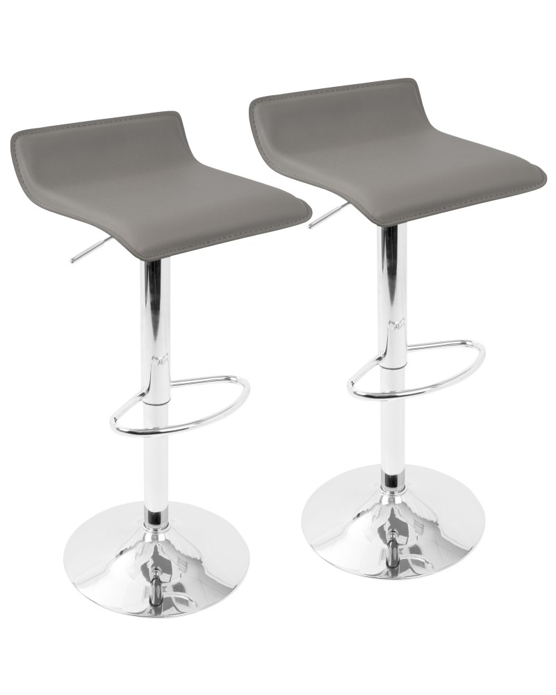 Ale Contemporary Adjustable Barstool in Grey PU Leather - Set of 2