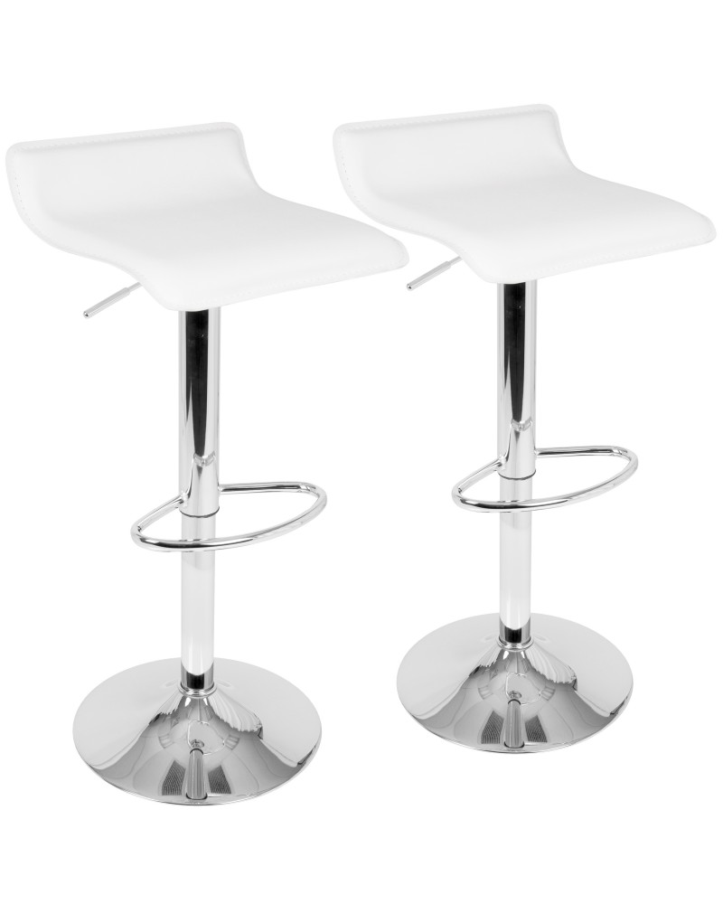 Ale Contemporary Adjustable Barstool in White PU Leather - Set of 2