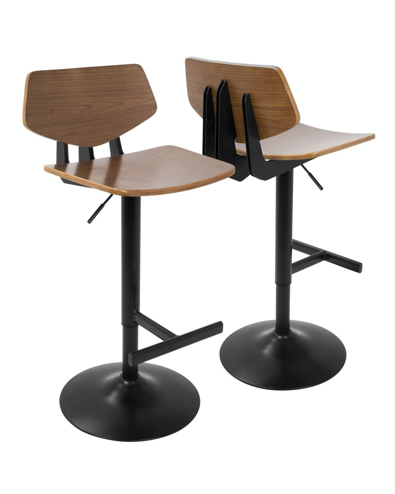 Apex Industrial Adjustable Barstool in Black and Walnut