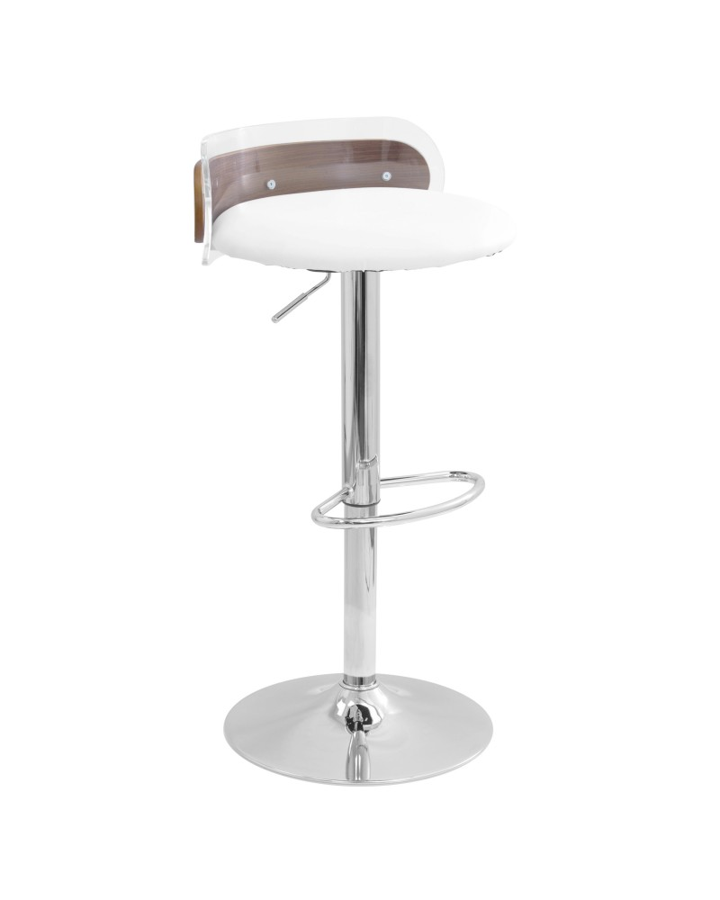 Arc Contemporary Adjustable Barstool in Walnut Wood, Clear Acrylic, and White Faux Leather