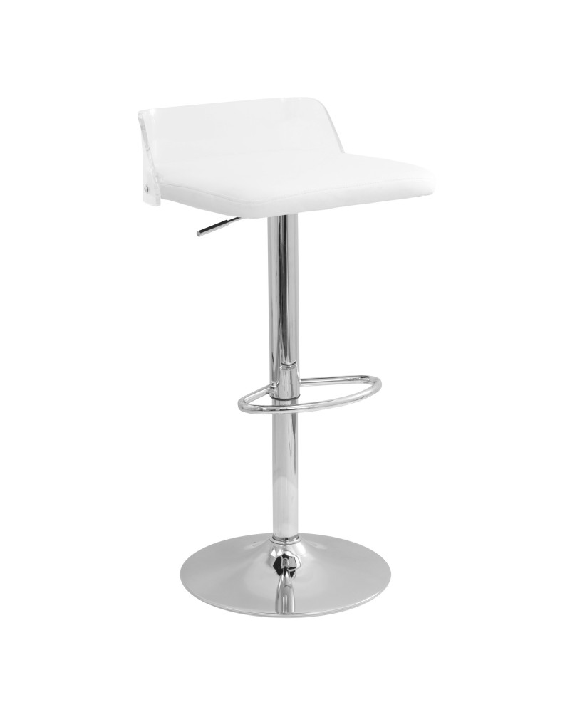 Arctic Contemporary Adjustable Barstool in Clear Acrylic and White Faux Leather