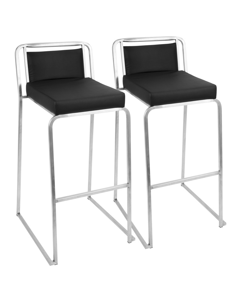 Cascade Contemporary Stackable Barstool in Black Faux Leather - Set of 2