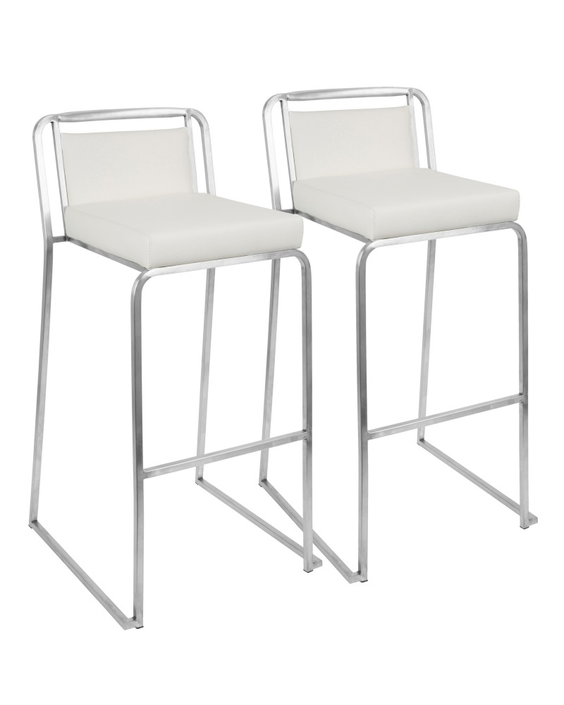 Cascade Contemporary Stackable Barstool in White Faux Leather - Set of 2