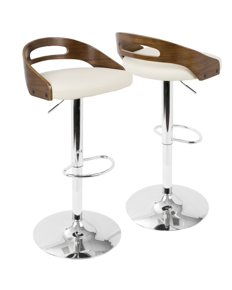 Cassis Mid-Century Modern Adjustable Barstool with Swivel in Walnut And Cream Faux Leather