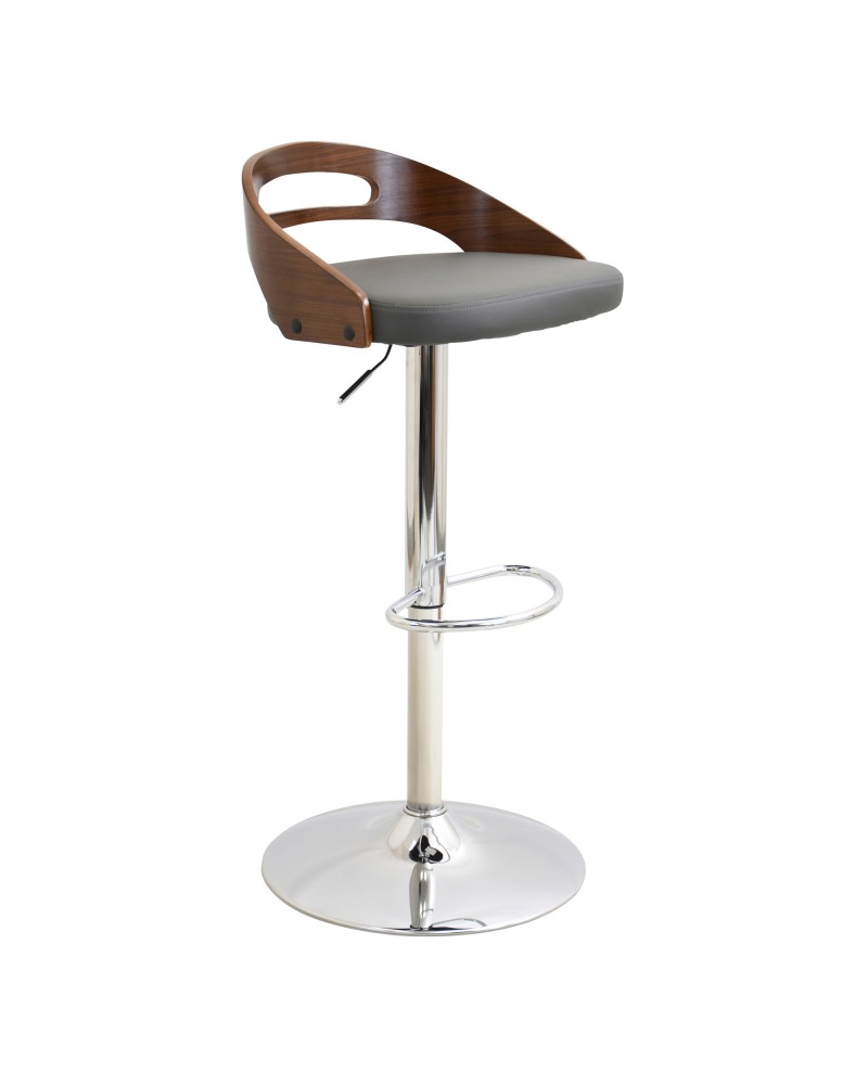 Cassis Mid-Century Modern Adjustable Barstool with Swivel in Walnut and Grey Faux Leather