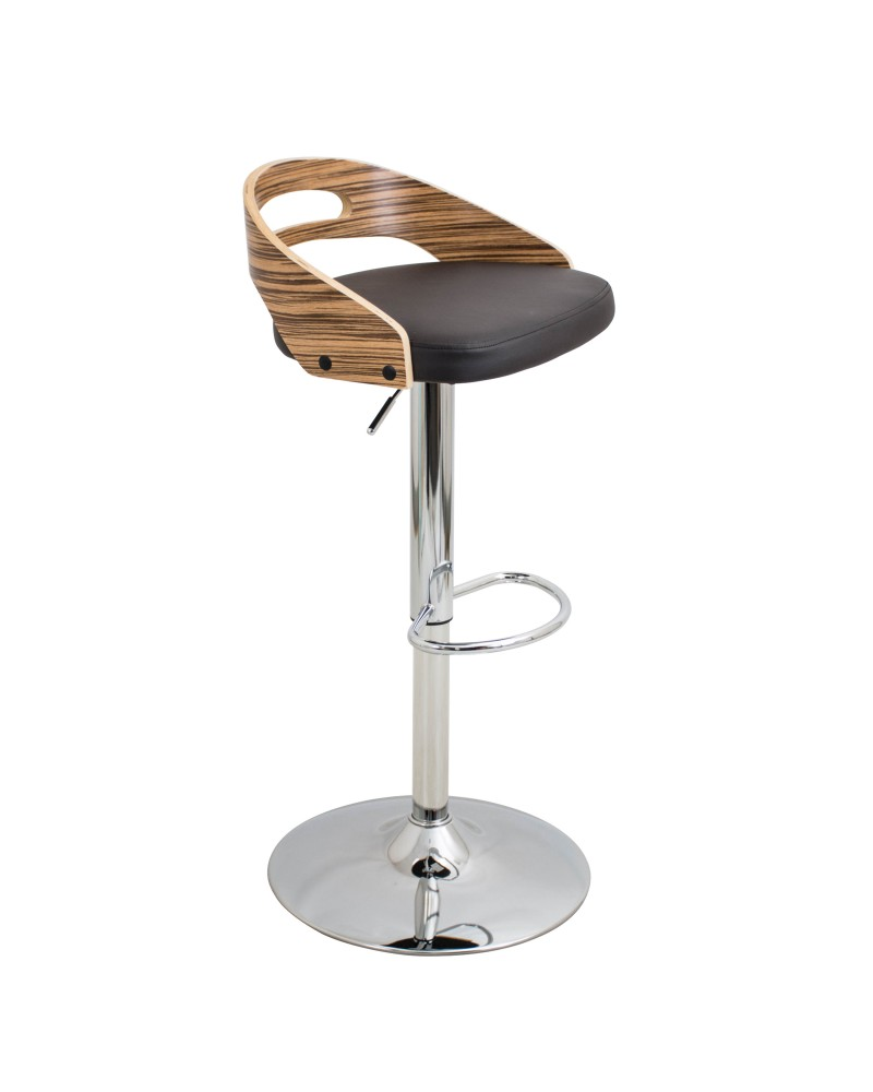Cassis Mid-Century Modern Adjustable Barstool with Swivel in Zebra and Brown Faux Leather