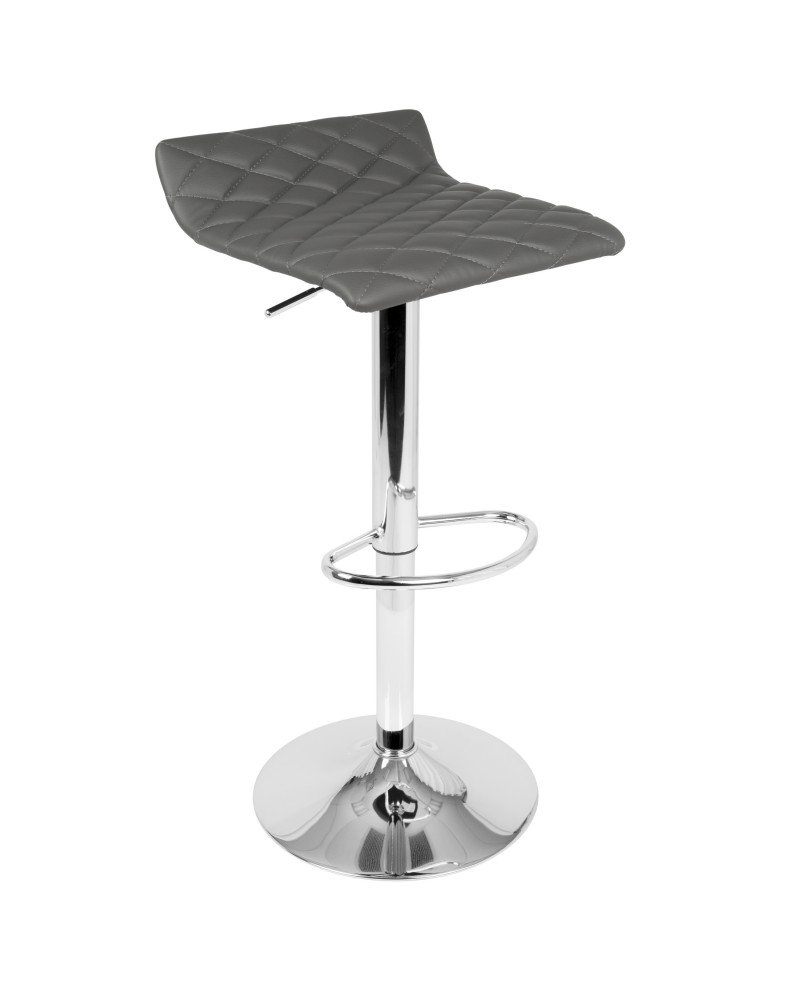 Cavale Contemporary Adjustable Barstool in Grey Faux Leather