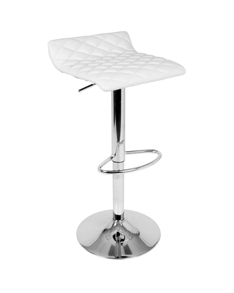 Cavale Contemporary Adjustable Barstool in White Faux Leather