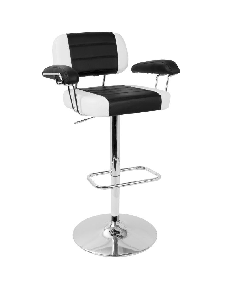 Cruiser Contemporary Adjustable Barstool in Black and White Faux Leather
