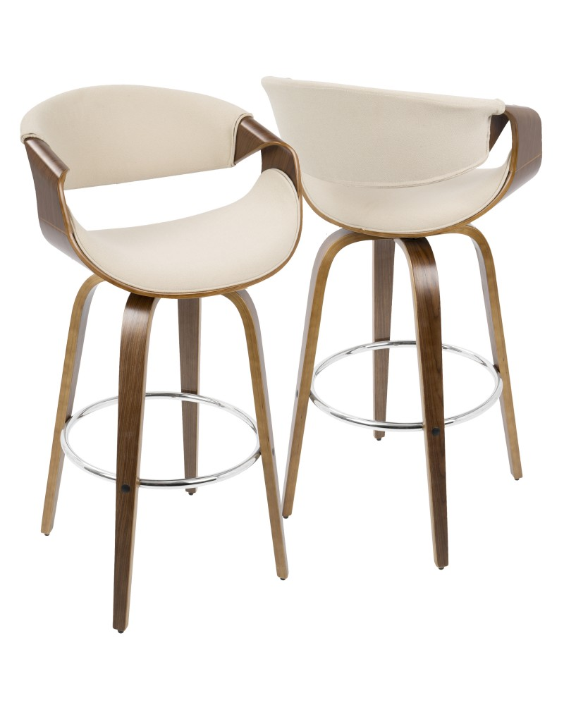 Curvini Mid-Century Modern Barstool in Walnut Wood and Cream Fabric