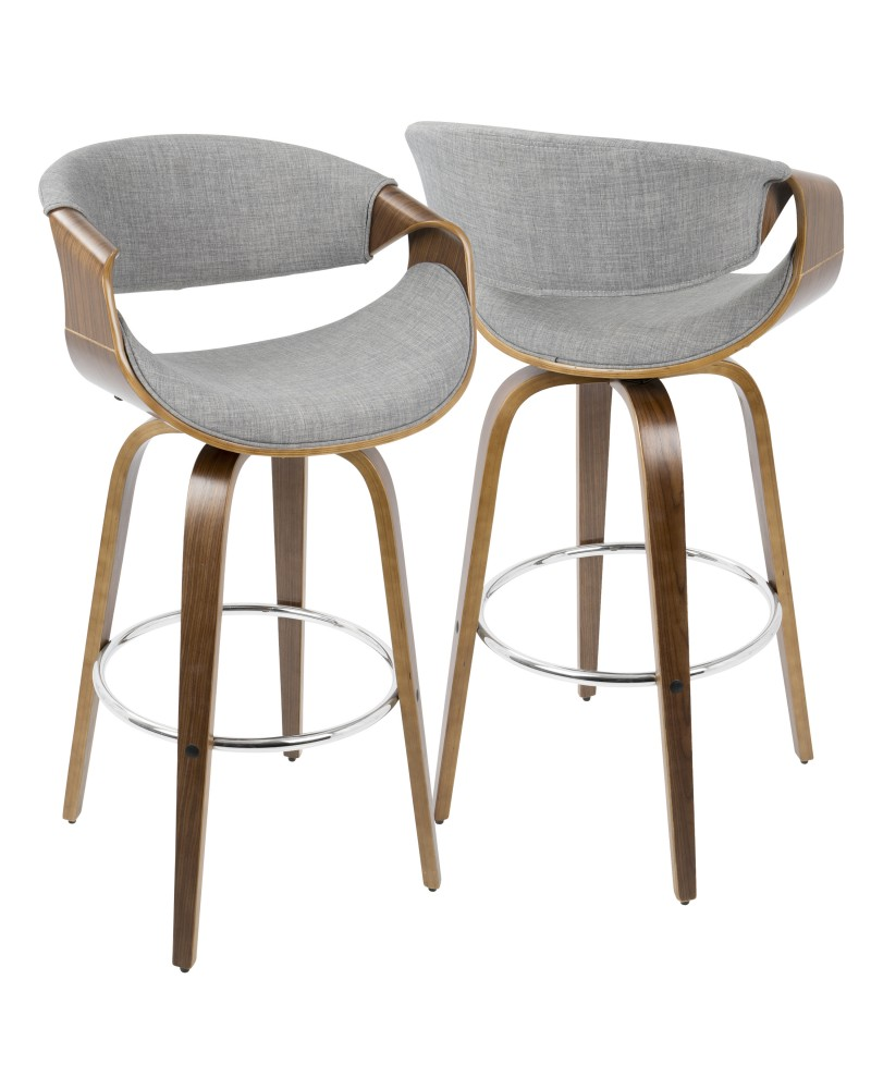 Curvini Mid-Century Modern Barstool in Walnut Wood and Grey Fabric