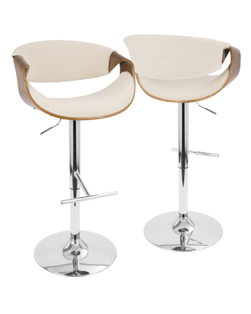 Curvo Mid-Century Modern Adjustable Barstool with Swivel in Walnut and Cream